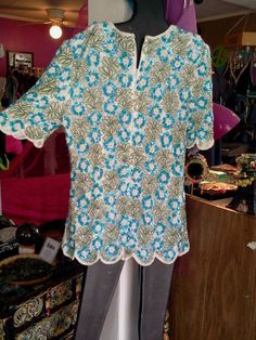 Vintage sequined tunic top , sz med. Good condition