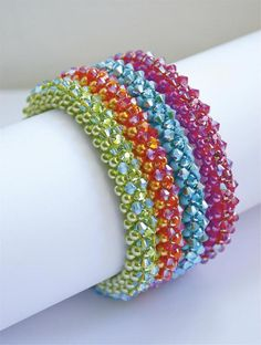 Takara bracelet pics - 2 needle RAW with 4mm pearls and 4mm bicones (or substitute 4mm rose montee)
