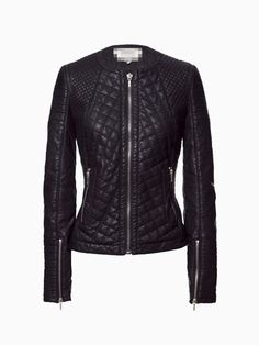 Black Quilted Leather Look Biker Jacket