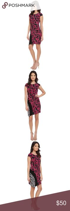 """Printed Jersey Sheath Dress NWT Laundry By Shelli Segal Cap-Sleeve Mixed-Print Sheath Dress in Vivid Pink  Make a statement with this bold printed dress from designer Laundry by Shelli Segal. Brand new with tags. Great for business and social events.   -Stretch matte jersey -Sheath silhouette -Asymmetrical hem -Round neckline -Cap sleeves -Back zip closure -Fully lined -95% polyester, 5% spandex -100% polyester lining -Length approx. 35"""" Laundry by Shelli Segal Dresses Asymmetrical"""