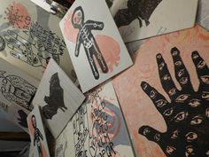 new work in progress, screen prints on wood... pink and black was the theme of the day