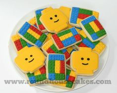 Cutest cookies by the Round House Lego Cookies, Cookies For Kids, Fancy Cookies, Cute Cookies, Sugar Cookies, Lego Themed Party, Lego Birthday Party, Boy Birthday, Party On Garth