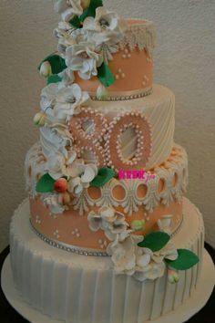 Sweet flowers and peach color birthday cake
