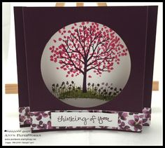 Sheltering Tree Box Card - Stampin' Up! - Blackberry Bliss, Old Olive and Melon Mambo, free tutorial available