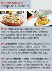 #fabulososnamidia #restaurantesãoroque Em Detalhe - #gastronomiaitaliana Stefano Hotel e Restaurante no Guia Divirta-se | O Estado de São Paulo | Lucineia Nunes | Festival da Alcachofra.