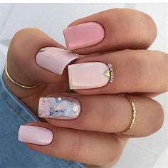 Square nails are one of the most popular nail shapes for many girls. The square nail design is beautiful and perfect for any color nail polish. So you can boldly choose square nail design, will be beautiful and fashionable. Classy Nails, Stylish Nails, Cute Nails, Pretty Nails, Simple Nails, Square Nail Designs, Nail Art Designs, Nails Design, Hair And Nails