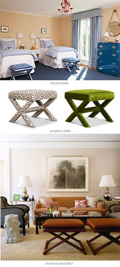 X benches - My mom had a very similar bench (brown & white) for years. Would kill for it now.