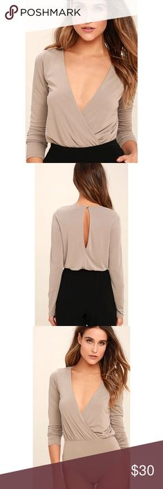 """Taupe Long sleeve Bodysuit Taupe long sleeve bodysuit. It measures 26"""" from shoulder to hem. Item doesn't have a tag but it's New (hasn't been worn). Tops"""