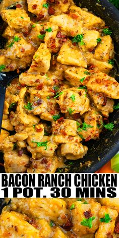 BACON RANCH CHICKEN RECIPE- The best, creamy, cheesy, quick and easy ranch chicken breast, homemade with simple ingredients in one pot over stovetop in 30 minutes. Packed with ranch seasoning, crumbled bacon and mozzarella cheese! Can also be made in crockpot/ slow cooker. Use it in pasta, salads, sandwiches, wraps, tacos. From OnePotRecipes.com #chicken #dinner #onepotmeal #onepotrecipes #30minutemeal #30minuterecipes #bacon #ranch