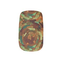 Earth Tones Abstract circular pattern fingernail art designed by CrypticFragments for Minx Nails
