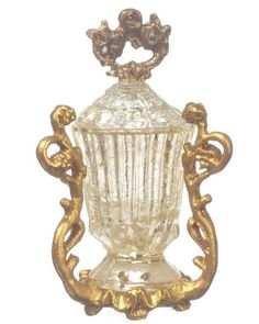 Dollhouse Miniature Crystal Cup / Candy Dish in Gold Holder 1:12 Scale #FalconMiniatures