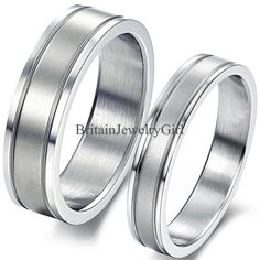 Men Women Silver Tone Stainless Steel 4mm 6mm Matching Wedding Promise Band Ring #Unbranded #Band