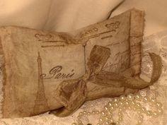 French Vintage Handmade 100% Organic Lavender Muslin Sachet Carte Postale From Paris  (Sachet012). $5.00, via Etsy.