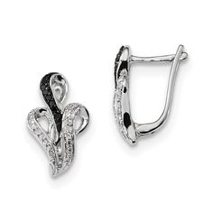 Sterling Silver Black and White Diamond Hinged Post Earrings