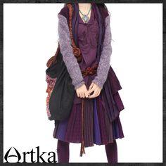 #Swanmarks Artka Purple Series Strip Joint Wool Knitwear Coat