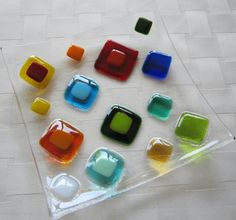 Fused Glass Plate Bright Colorful Squares by Shakufdesign on Etsy, $32.00