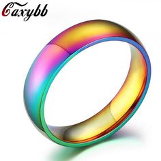 >> Click to Buy << Caxybb 2016 Simple Design glare Colorful rainbow Rings Top Quality Stainless Steel Ring for Men women couple finger ring #Affiliate