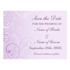 Lavender Swirls Save the Date Wedding Postcards