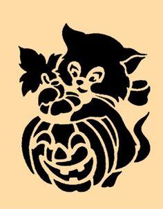 Gatito de Halloween del vintage en la calabaza