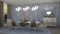 Modern Dinning Room by JarkaK. A design dining room with products like the Hilton Photo Frame - large, Dry Lemon Resin Table Lamp Gold With Silver, Ring LED Chandelier Lacquered Underplate, Gold, Hilton Photo Frame - small and a Gold Topiary Trees Dining Room, Dining Table, Table Lamp, Topiary Trees, Resin Table, Led Chandelier, Sketches, Interior, Modern