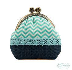 Monedero vintage / Monedero chevron / Monedero por PikiyinaFieltro, €17.50 / Mint Chevron purse / Blue coin purse / #chevron #Mint