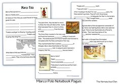 Marco Polo – Free Notebook Pages (Books and Resources) - Homeschool Den