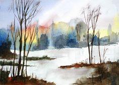 watercolor fall landscape - Google Search