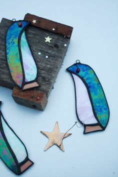 GLASS PENGUIN Iridescent Stained Glass Christmas by mbGlassArt