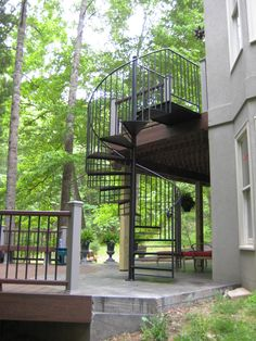 Keswick, Virginia deck to patio Spiral staircase in Metal By Appalachian Ironworks .com