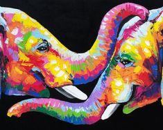 70 x 100 cm Colorful Elephant Painting elephant wall decor Colorful Animal Paintings, Colorful Animals, Oil Pastel Paintings, Watercolor Paintings, Tableau Pop Art, Elephant Canvas, Elephant Paintings, Colorful Elephant, Crayon Art