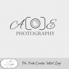 Pre-made Camera Initial Logo Photography Small Business Marketing Custom Color Wedding Aperture Lens Photographer by JaneandJillDesigns on Etsy
