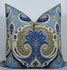 Paisley Decorative Pillow Cover  Ikat Blue by Kravet  by WilmaLong, $44.00