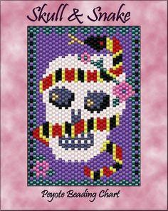Items similar to Skull and Snake Peyote Beadwork Chart PDF Pattern on Etsy Loom Bracelet Patterns, Beading Patterns, Peyote Beading, Beadwork, Pony Bead Crafts, Colorful Snakes, Beaded Earrings Native, Beaded Banners, Beaded Skull