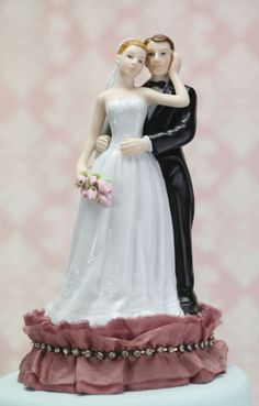 Antique Silk and Rhinestones Bride and Groom (Mauve or Ivory)
