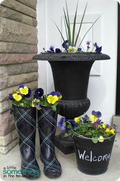love the rain boots and chalkboard bucket garden planters.
