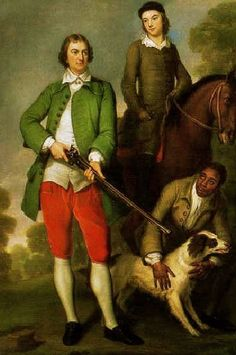 England 1744 The Honorable John Spencer & His Son, the 1st Earl Spencer with their Servant, Caesar Shaw by George Knapton (English painter, 1698-1778)