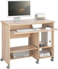 Der Computertisch ''Xenia'' ist genau das Richtige für Sie, wenn Sie sich in Ihren Räumen einen kleinen Arbeitsplatz herrichten wollen. Das robuste Gestell aus Holzwerkstoff ist mit einer eichefarbenen Dekorfolie überzogen und bietet einen Auszug für die Ablage der Tastatur sowie mehrere Ablagefächer. Ergänzen Sie Ihr Büro mit dem praktischen Computertisch!