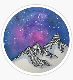 'Moon Galaxy Mountain Travel Wanderlust Stars Space Boho Hipster Print' Sticker by Big Kidult Kawaii Stickers, Star Stickers, Cool Stickers, Printable Stickers, Laptop Stickers, Journal Stickers, Planner Stickers, Overlays Tumblr, Homemade Stickers