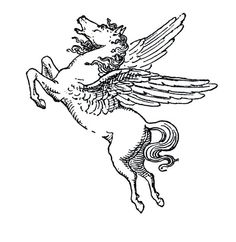 2 Vintage Winged Pegasus Temporary Tattoo various by TabooTattoo
