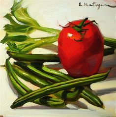 "Daily Paintworks - ""Vegetables for Supper"" - Original Fine Art for Sale - © Elena Katsyura"