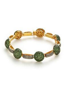 Diamond & Tsavorite Domed Disc Station Bracelet by Amrapali at Gilt