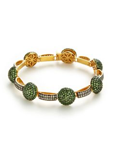 Diamond & Tsavorite Domed Disc Station Bracelet by Amrapali at Gilt