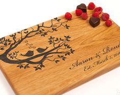 Our cutting boards are made of ecologically clean wood and engraved with a beautiful design of your choice. Perfect gift for any couple, family, great for Anniversary gifts, Wedding gifts, housewarming gift, birthday gift, or get one for yourself!  Our boards are engraved on one side permitting the use of the other side for cutting and chopping. Cutting boards are all hand made from solid natural hardwood. Size approximately: - 12x8x .75 inches (30х20х2cm). -14x9.5x .9 inches (36х24х2.3cm)…