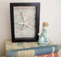 I love this vintage map with (faux) starfish, mounted in a shadowbox