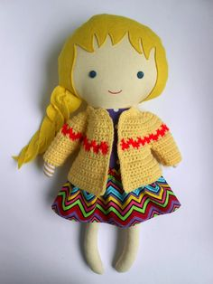"""Doll clothing set accessories crochet cardigan sweater skirt chevron for 18""""dolls, natural toy for toddlers kids gift for birthday"""