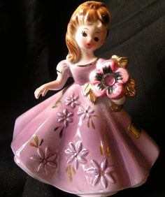 Vintage Josef Original Collectible February Birthstone  Girl Figurine. $15.00, via Etsy.