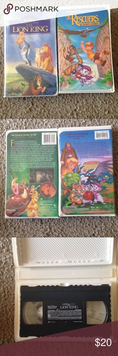 The lion king & The rescuers down under vhs Great condition, a little wear and tier on the cover , Great for a collector 🙂👍🏽 Other