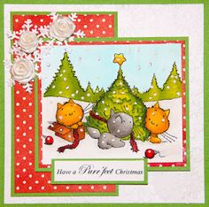 colored with Spectrum Noir markers, cute Christmas image - mulberry woods by Crafters companion.