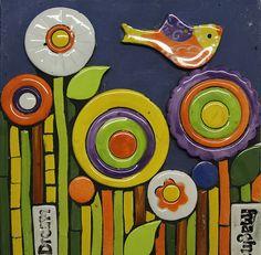 Happy swallow canvas with misaic inserts Swallow, Mosaic, Clay, Range, Kit, Canvas, Happy, Clays, Tela