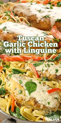 Tuscan Garlic Chicken and Linguine is a simple recipe ready in 20 minutes. Tender and juicy chicken with linguine pasta and fresh red peppers are tossed in a rich and creamy Chardonnay garlic-cream sa Chicken Linguine, Shrimp Pasta, Pasta Linguini, Grilled Chicken Pasta, Chicken Scampi, Chicken Carbonara, Grilled Shrimp Recipes, Cajun Shrimp, Chicken Alfredo